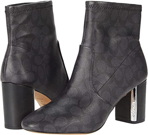 COACH Margot Coated Canvas Bootie,Charcoal