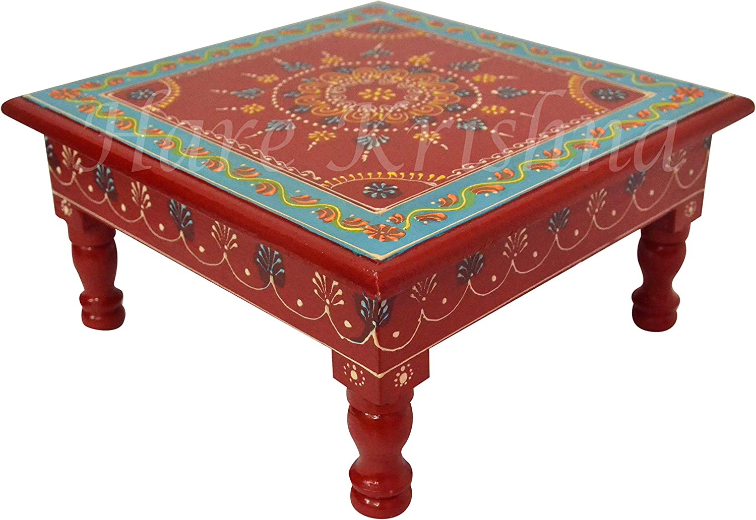 Wooden Small Home Decor Corner Table Pooja Chowki Bajot Side End Low Table 11 x 11 x 5.5 Inches