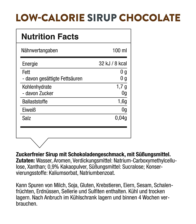 16+ FITNESS FOODS Low Calorie Sirup Schokolade   Schokoladensoße ohne ... Galerie