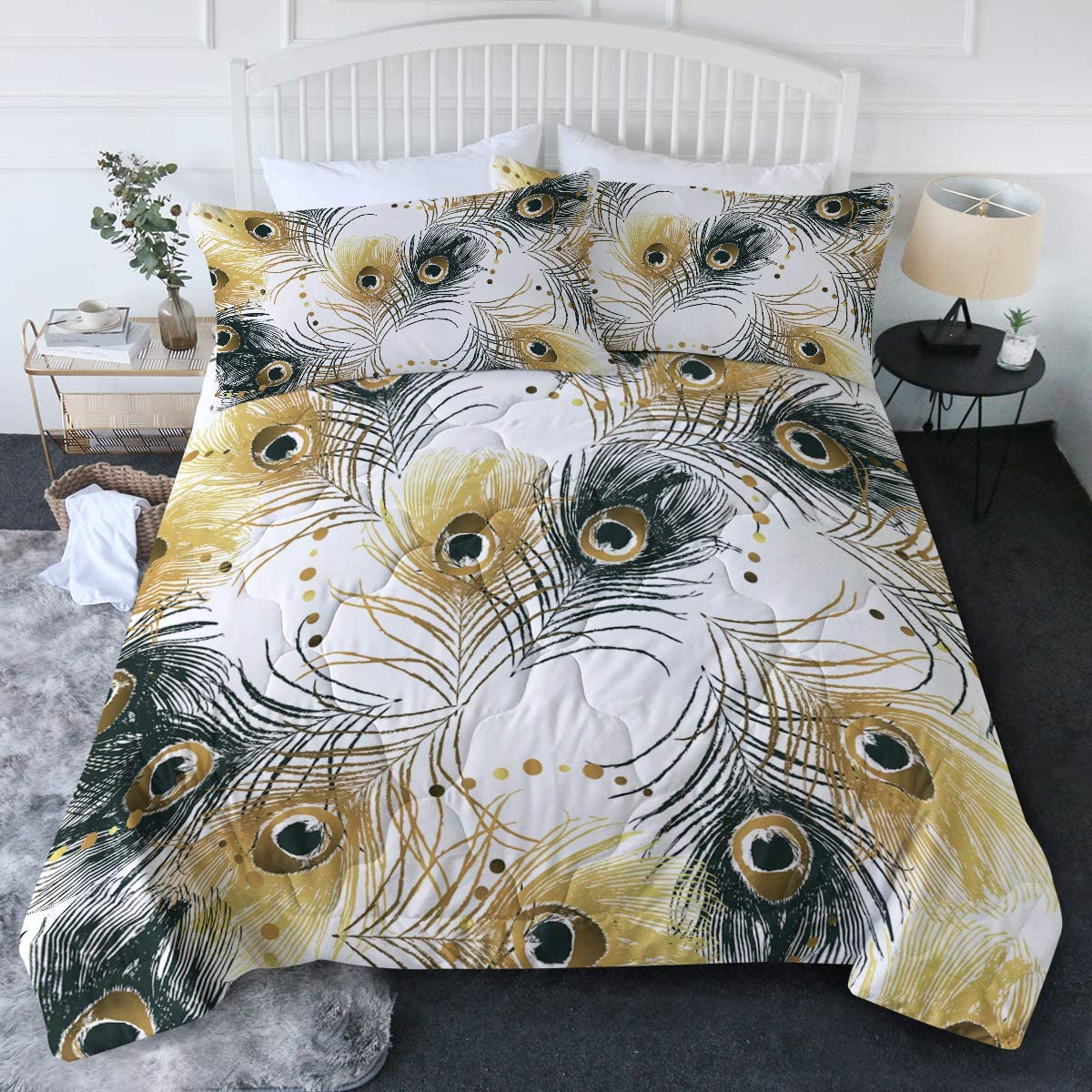 BlessLiving Peacock Feather ふるさと割 Comforter Set Black Chic Pe 信用 and Gold