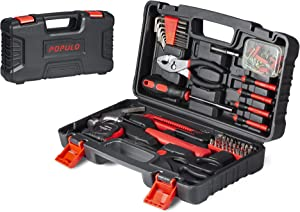 POPULO 80 Piece Hand Tool Set, Basic Home Tool Kit with Tool Box, Socket Set, Screwdriver, Hammer, Pliers and etc, Household Tool Kit for Apartment, Car, Mechanics, Handyman