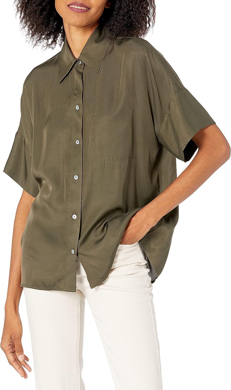 Vince Women's Utility Pocket Stitch Short Sleeve Shirt
