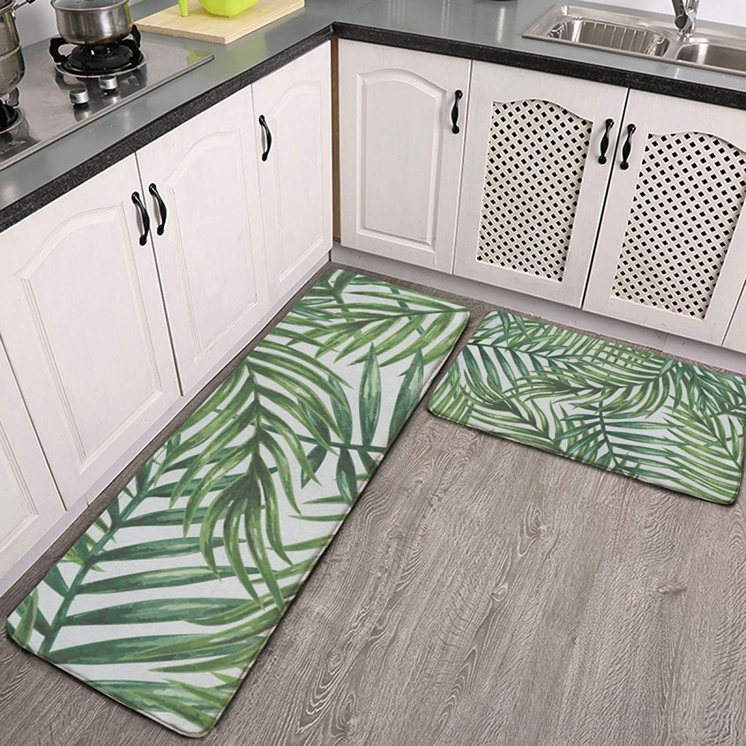 Deluxe Kitchen Mat Cushioned Anti Fatigue 2 Tre Set Palm Tropical Piece Regular store