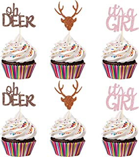 24Pcs Glittery Oh Deer It's A Girl Cupcake Toppers- Girls Baby Shower Party Decorations,Girls Baby Shower Cupcake Toppers ...