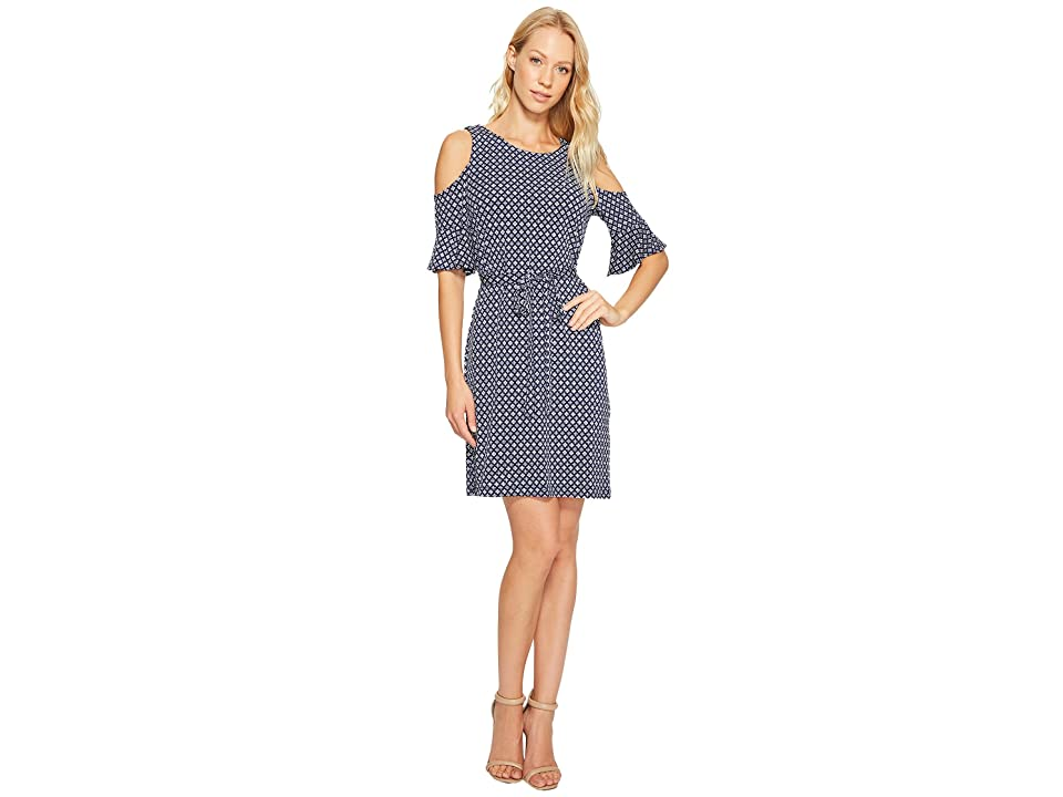 Donna Morgan 3/4 Bell Sleeve Cold Shoulder A-Line Dress (Marine Navy Multi) Women