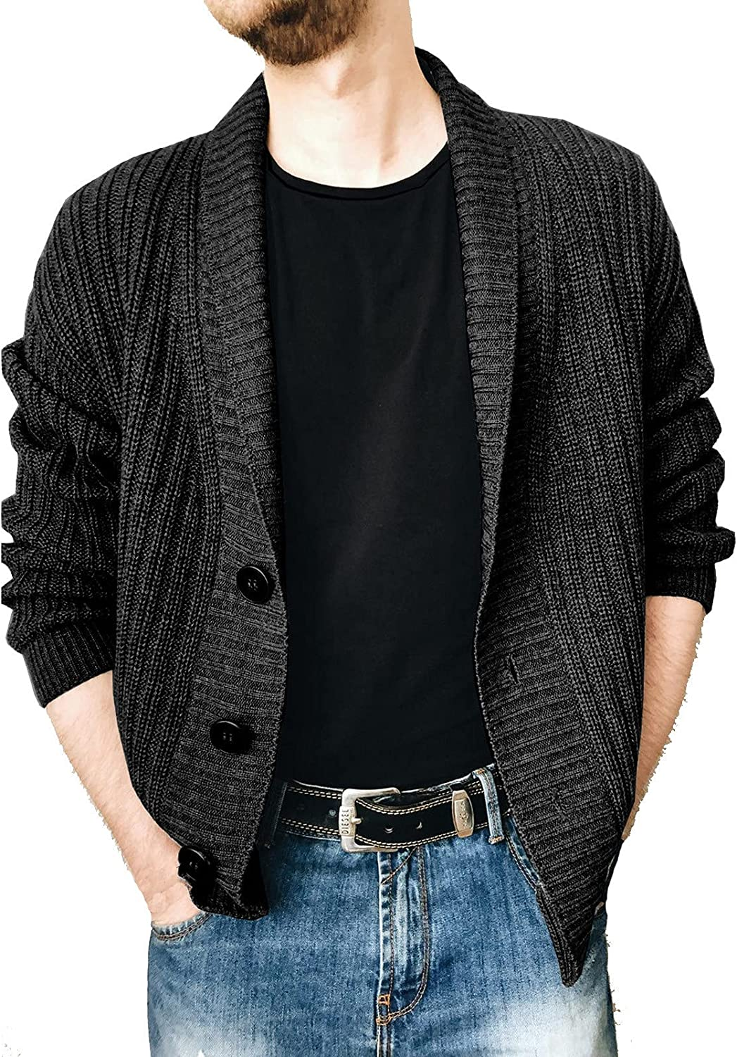 Men's Knitted Cardigan Fashion Solid Color Lapel Long-Sleeved Single Breasted Sweater Coat Henley Sweater Jacket