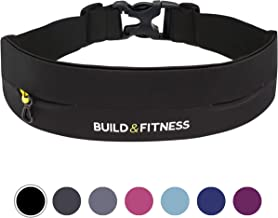 Build & Fitness Running Belt, Adjustable Waist, Comfortable, Slim, Key Clip - Fits All Phones, iPhone 6,7,8,Plus,X,Max,11,Pro, Samsung S8,S9,S10. for Men, Women, Runners, Jogging, Gym, Yoga, Workouts