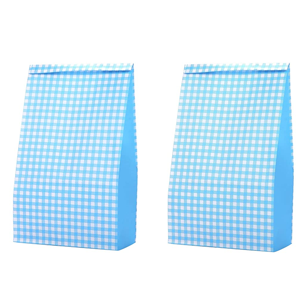 Blue Colored Grid Party Favor Treat Bags 6 x 3 1/2 x 10 3/5 inch, Recycling for Candy Gifts Snack Popcorn Cookies Goody Boy/Girl Baby Shower Valentines, Pack of 36 in Bulk