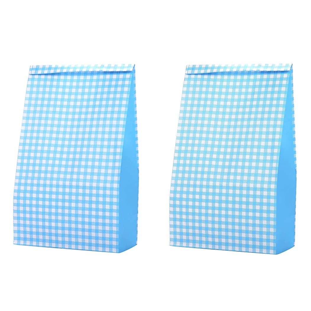 Small Decorative Grocery Bags Blue Colored 3 1/2 x 2 1/6 x 7 inch, Grid Recycling Paper for Candy Lunch Gifts Bread Popcorn Food Cookies Party Favor Baby Shower, Pack of 36 in Bulk