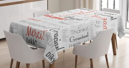 Multinational Global Pattern Tablecloth by Ambesonne, Thank You In Different Languages Of The World Multilingual, Dining Room Kitchen Rectangular Table Cover, 60 X 84 Inches