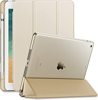 Infiland iPad 9.7 2018 Translucent Frosted Back Case Cover with Apple Pencil Holder Compatible with Apple iPad 9.7inch (6th Gen) 2018, Gold