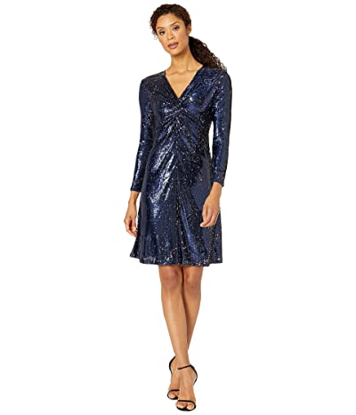 Tahari by ASL Long Sleeve Stretch Sequin Twist Front Cocktail Dress (Navy Rose Sequin) Women