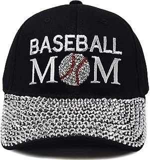 Women's Baseball Cap Silver Rhinestone Bill Sports Mom Bling Hat