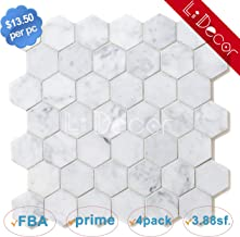 Italian Carrara Hexagon 2in Marble Tiles Honed