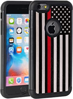 iPhone 6 Plus Case,iPhone 6S Plus Case,Rossy Fire Thin Red Line US Flag Design Shock-Absorption Hybrid Dual Layer Armor Defender Protective Case Cove for Apple iPhone 6 Plus/iPhone 6s Plus 5.5inch