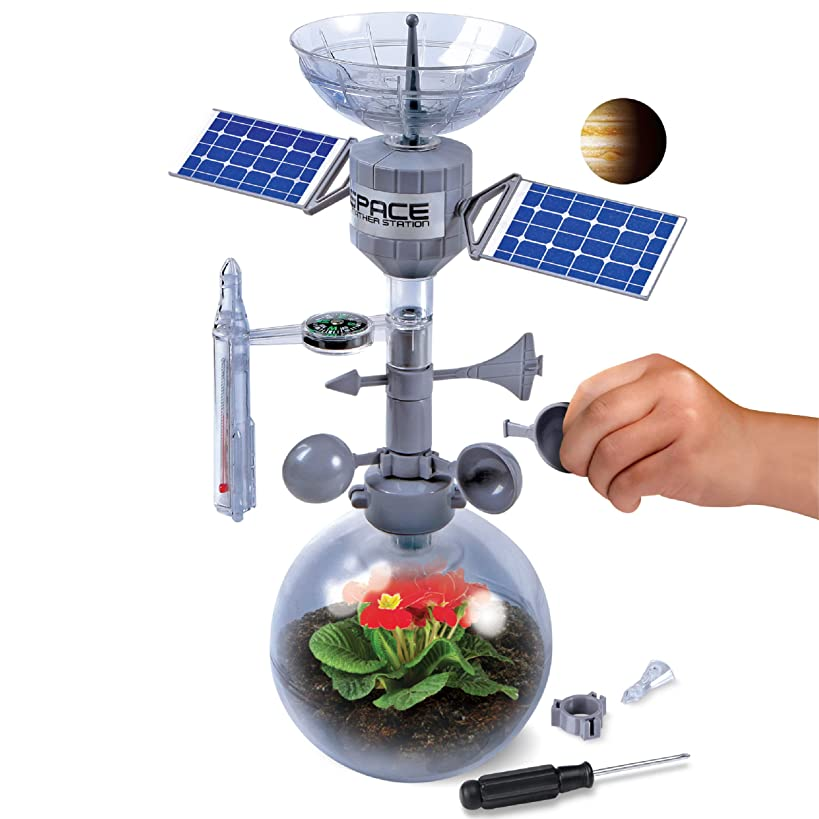 Discovery Mindblown Weather Terrarium DIY Build and Grow Kit, Create and Study The Water Cycle and Ecosystems, Space Station Model Design with Thermometer, Weather Vane, Compass, Rain Gauge