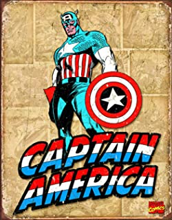 Desperate Enterprises Captain America Retro Panels Tin Sign, 12.5