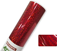 """KKVINYL Holographic Sparkle Glossy Permanent Adhesive Red Craft Vinyl Roll by 12"""" x 48"""" ,Works with Cricut and Other Cutters"""