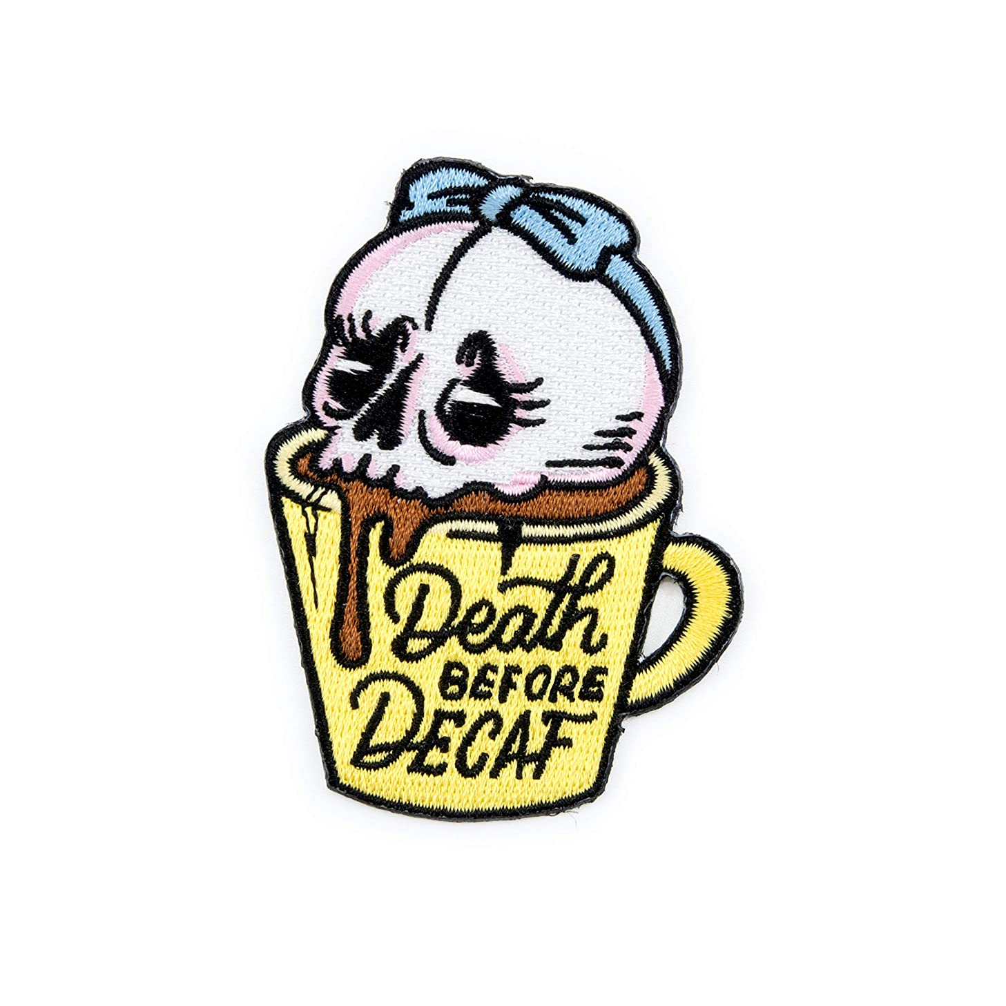 Winks For Days Death Before Decaf Embroidered Iron-On Patch