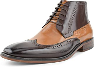 Original Mens Two Tone Genuine Calf Leather Perforated Wingtip Spectator, Lace Up Ankle Boot Style AG2023