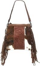 Western Genuine Tooled Leather Cowhide Fur Fringe Womens Crossbody Bag in 3 Colors