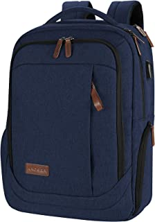 KROSER Laptop Backpack Large Computer Backpack Fits up to 15.6 Inch Laptop with USB Charging Port Water-Repellent School Travel Backpack Casual Daypack for Business/College/Women/Men-Dark Blue