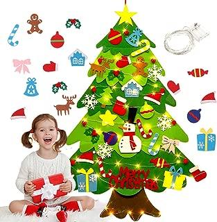 Fieltro Árbol de Navidad, Justdolife Árbol de Navidad DIY con 50 Luces LED 28 Unids Adornos Navidad Decoración Colgante para Niños Regalo de Navidad Niños arbol de Navidad Cafe Hotel casa decoración