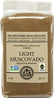 India Tree Light Muscovado Sugar, 1 LB (Pack of 4)