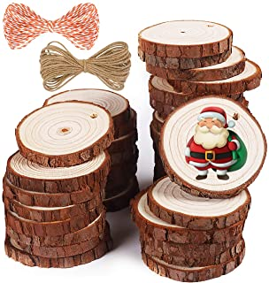 5ARTH Natural Wood Slices - 37 Pcs 2.0-2.4 inches Craft Unfinished Wood kit Predrilled with Hole Wooden Circles for Arts W...