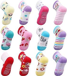 OKPOW, 12 pares de calcetines antideslizantes de algodón para bebé, calcetines cálidos y cómodos, calcetines de bebé de 10 a 24 meses, colores claros