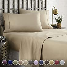 HC COLLECTION Hotel Luxury Comfort Bed Sheets Set, 1800 Series Bedding Set, Deep Pockets, Wrinkle & Fade Resistant, Hypoallergenic Sheet & Pillow Case Set(Queen, Taupe)