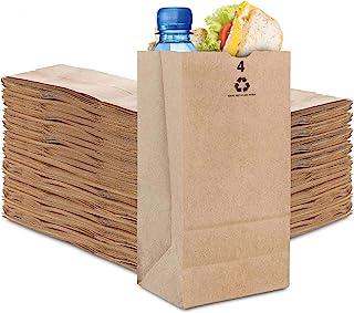 Stock Your Home 4 Lb Kraft Brown Paper Bags (250 Count) - Small Kraft Brown Paper Bags for Packing Lunch - Blank Kraft Bro...