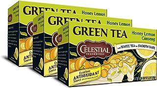 Celestial Seasonings Green Tea, Honey Lemon Ginseng, 20 Count (Pack of 3)