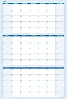 90-Day Quarterly Dry and Wet Erasable Calendars by PlanetSafe Calendars. Best in It's Class. Non-ghosting, Non Staining (Vertical 36