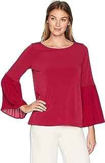 Ivanka Trump Women's Long Pleated Sleeve Knit Top