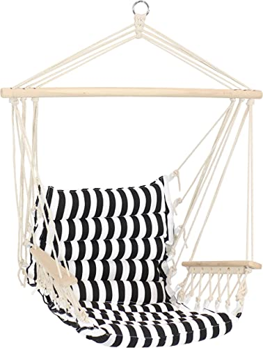 popular Sunnydaze Polycotton Hammock Chair with Armrests - Comfortable Outdoor Hanging Chair - Printed Polycotton Fabric outlet sale with lowest Hardwood Spreader Bar - 300-Pound Weight Capacity - Contrasting Stripes outlet online sale