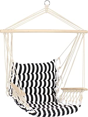 Sunnydaze Polycotton Hammock Chair with Armrests - Comfortable Outdoor Hanging Chair - Printed Polycotton Fabric with Hardwood Spreader Bar - 300-Pound Weight Capacity - Contrasting Stripes