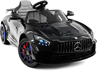 Moderno Kids Mercedes GT 12V Power Children Ride-On Car with R/C Parental Remote + EVA Rubber LED Wheels + Leather Seat + MP4+MP3 Video/Music Player + LED Lights + Rubber Floor Mats (Black)
