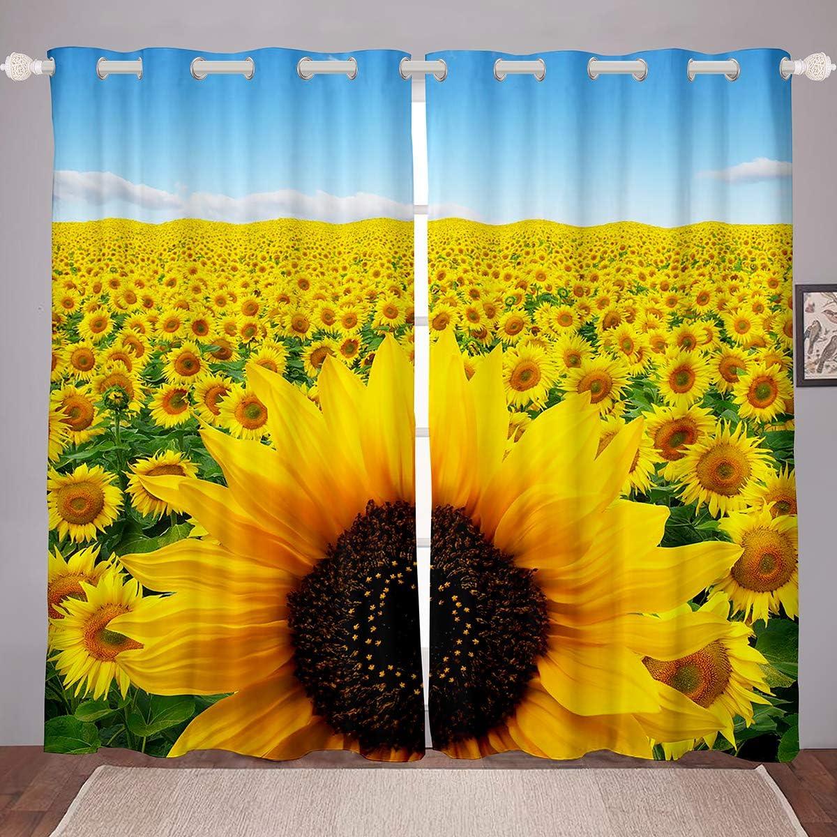 Erosebridal Girls Sunflower 着後レビューで 送料無料 Window Floral Curtains 百貨店 Curta Yellow