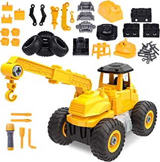 4 in 1 Take Apart Truck Toys for Boys, 51 PCs Construction Toys with Screwdriver, Building Toys STEM Learning Toys for Kids