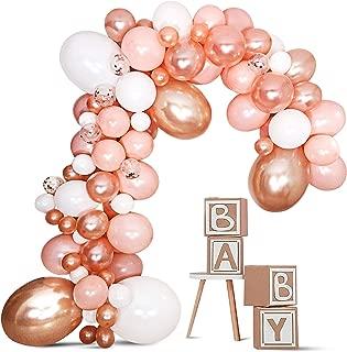 DIY Balloon Garland Kit Balloon Arch Kit - Baby Shower/Birthday Party/Graduation/Bachelorette Decorations - Rose Gold/Peach Confetti Balloons Birthday Backdrop Decor - Balloon Pump Included