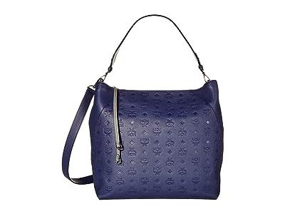 MCM Klara Monogrammed Leather Hobo Large (Navy Blue) Handbags