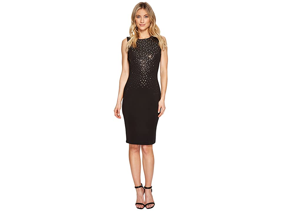 Calvin Klein Mirrored Embellishment Details Scuba Sheath Dress CD7M185R (Black) Women