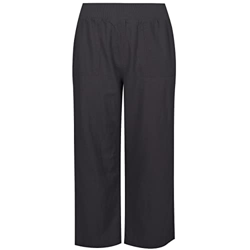 9ad30cc01ce Yours Women s Plus Size Dark Linen Mix Pull On Wide Leg Trousers with  Pockets