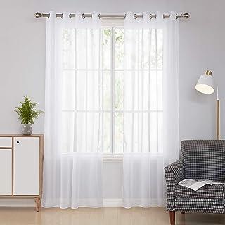comprar comparacion Doconovo Cortinas Blancas Translucidas Visillos para Ventanas de Salón y Dormitorio Moderno 140 x 240 cm 2 Piezas Blanco