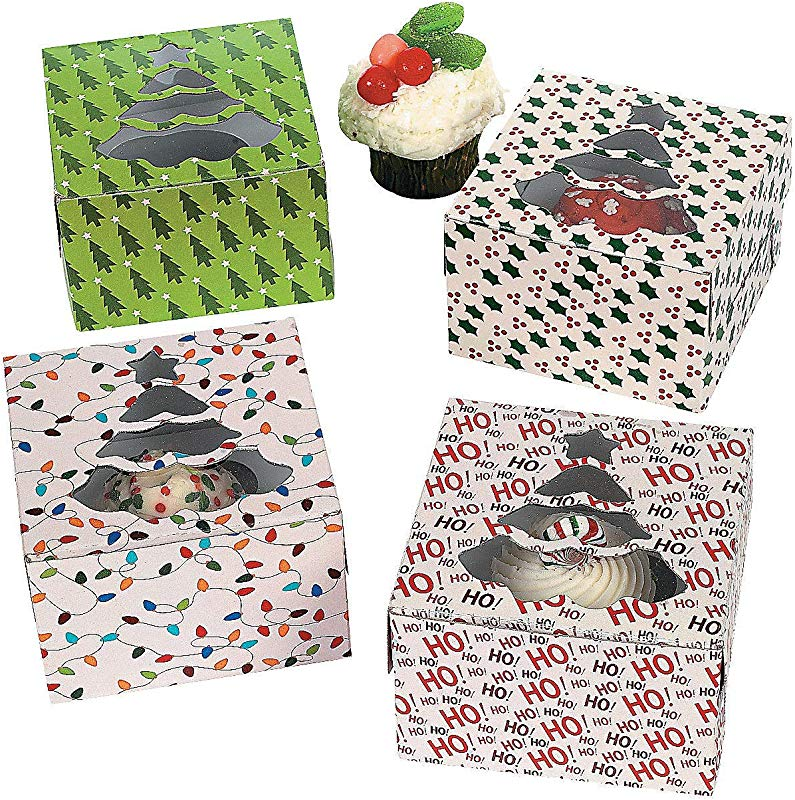 Fun Express 1 X Christmas Holiday Cupcake Boxes 12 Pack