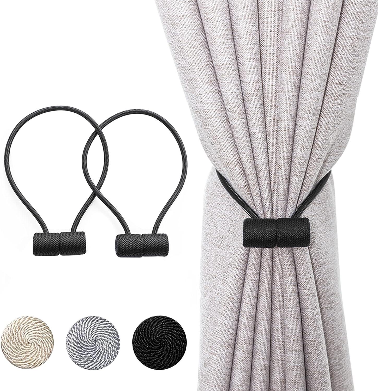 Xderlin 2 Pack Window Magnetic Curtain Tiebacks Holdbacks VS Upgraded 16 Inch Decorrative Drapery Tie Backs for Home Office Blackout Sheer Treatment,Black: Home & Kitchen