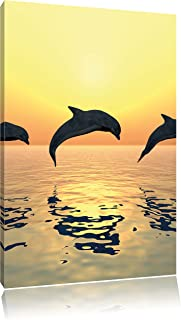 Magnettafel Pinnwand XXL Bild Delfine Delphine Sonnenuntergang Gr/ö/ße 40 x 60 cm