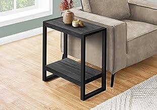 "Monarch Specialties Rectangular Side 1 Storage Shelf-for Living Room or Bedroom end table, 24""H, BLACK"