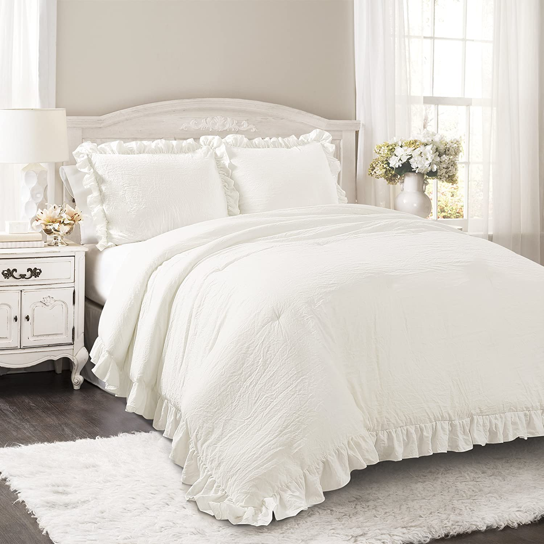 Lush Decor Reyna Comforter White Ruffled 3 Piece Set with Pillow Shams, King